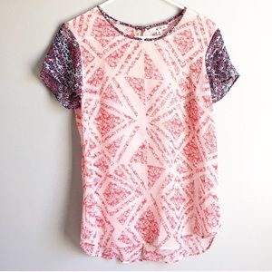 CABi Coquette Red White Blue Blouse Short Sleeve